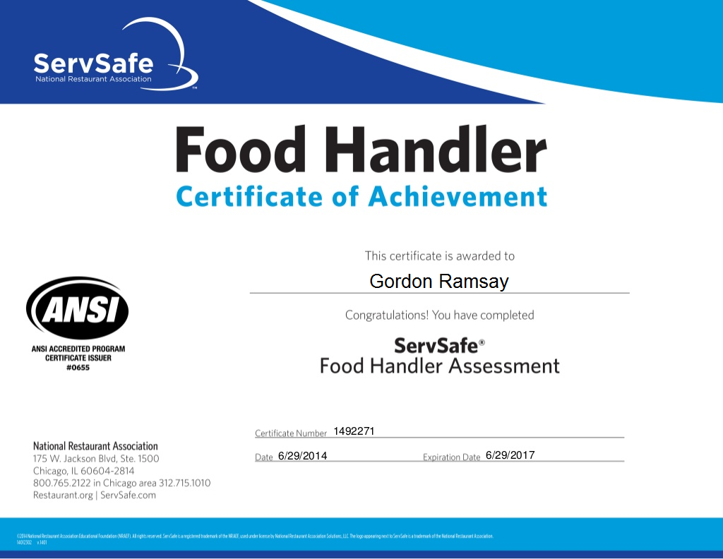 Food Safety Manager Certification Ca